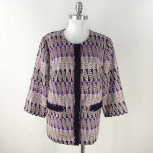 Doncaster Collection 14W Purple Black Geo blazer
